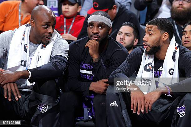 Anthony Tolliver Ty Lawson and Garrett Temple of the Sacramento Kings look on during the game against the Oklahoma City Thunder on November 23 2016...