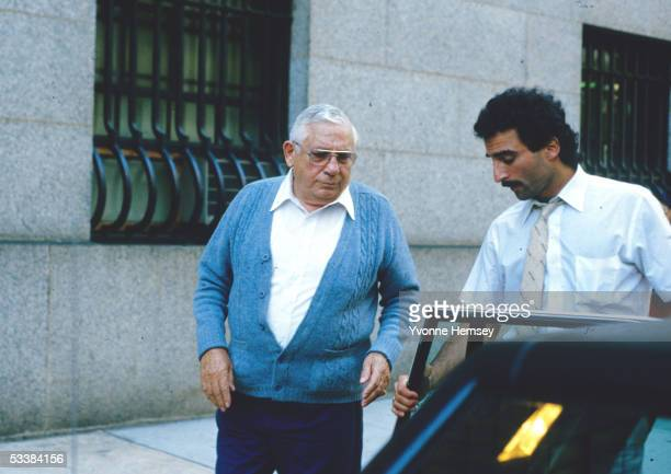 Anthony 'Tony Ducks' Corallo boss of the Luchese Crime Family is helped to his car by his driver after leaving Federal Court during the Commission...