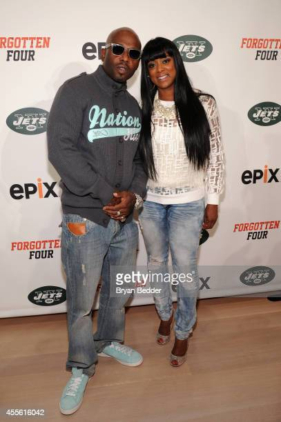 Anthony Treach Criss and Cicely Evans attend EPIX THE NY JETS Forgotten Four The Integration Of Pro Football screening at The TimesCenter on...