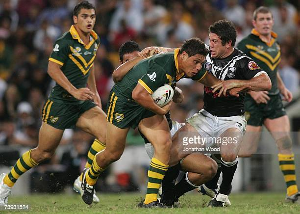 Anthony Tupou of the Kangaroos struggle during the ARL Bundaberg Test match between the Australian Kangaroos and the New Zealand Kiwis at Suncorp...