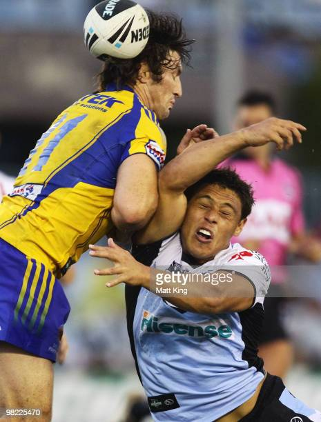 Anthony Tupou of the Sharks collides with Nathan Hindmarsh of the Eels during the round four NRL match between the Cronulla Sharks and the Parramatta...