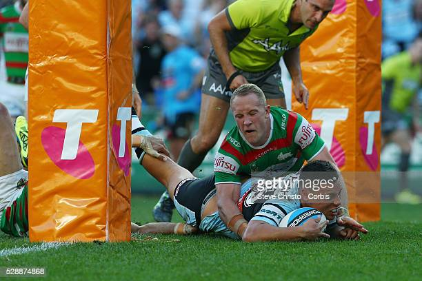 Anthony Tupou of the Sharks scores a try against the Rabbitohs during the Elimination Final match between South Sydney Rabbitohs and Cronulla...