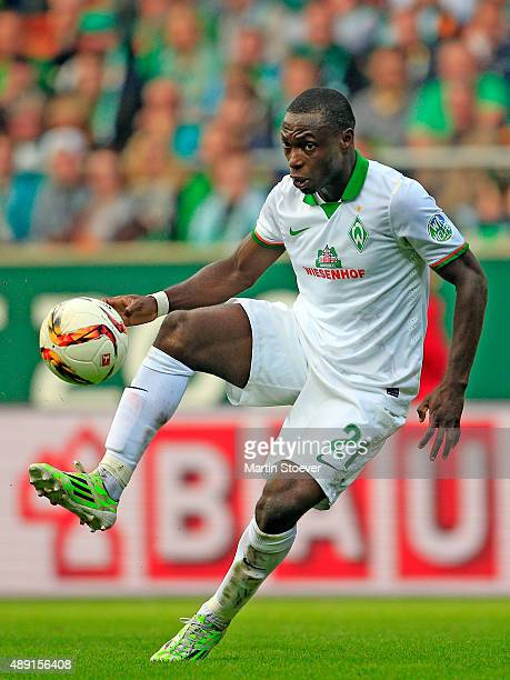 Anthony Ujah of Bremen plays the ball during the Bundesliga match between Werder Bremen and FC Ingolstadt at Weserstadion on September 19 2015 in...