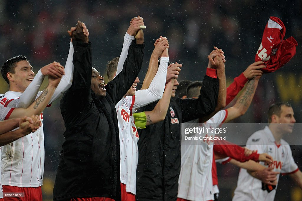 Anthony Ujah of Cologne and teammates celebrate after the Second Bundesliga match between 1. FC Koeln and VfL Bochum at RheinEnergieStadion on November 23, 2012 in Cologne, Germany.