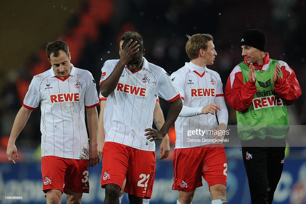 Anthony Ujah of Cologne looks dejected after the Bundesliga match between 1. FC Koeln and Eintracht Braunschweig at RheinEnergieStadion on December 10, 2012 in Cologne, Germany.