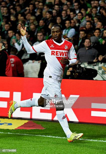 Anthony Ujah of Koeln celebrates after scoring the opening goal during the Bundesliga match between SV Werder Bremen and FC Koeln at Weserstadion on...