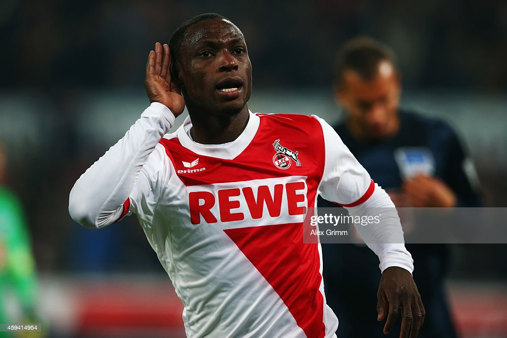 Anthony Ujah of Koeln celebrates his team's first goal during the Bundesliga match between 1. FC Koeln and Hertha BSC at RheinEnergieStadion on November 22, 2014 in Cologne, Germany.