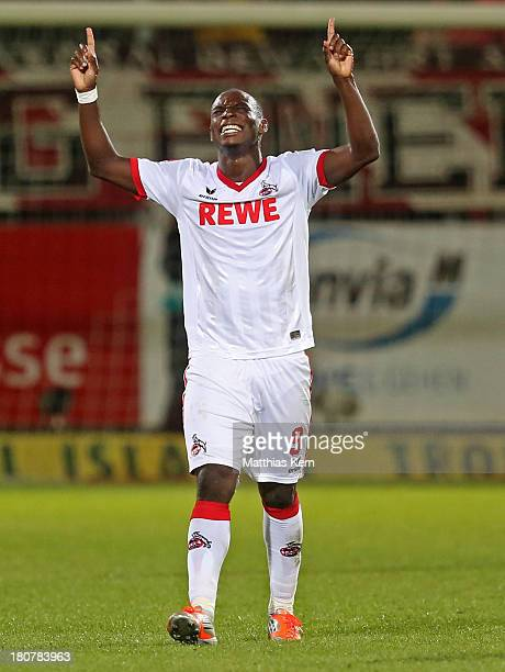 Anthony Ujah of Koeln jubilates after scoring the third goal during the Second Bundesliga match between FC Energie Cottbus and 1FC Koeln at Stadion...