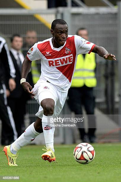 Anthony Ujah of Koeln runs with the ball during the Bundesliga match between SC Paderborn 07 and 1 FC Koeln at Benteler Arena on September 13 2014 in...