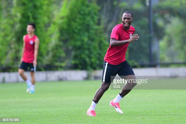 Anthony Ujah of Liaoning Whowin FC attends a training session ahead of the Chinese Super League 20th round matches on August 2 2017 in Shenyang...