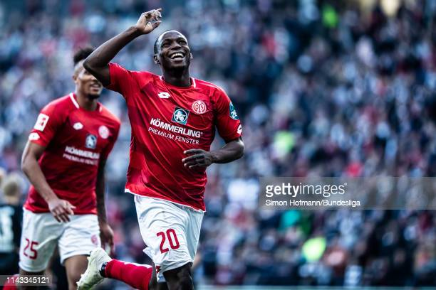 Anthony Ujah of Mainz celebrates a goal during the Bundesliga match between Eintracht Frankfurt and 1 FSV Mainz 05 at CommerzbankArena on May 12 2019...