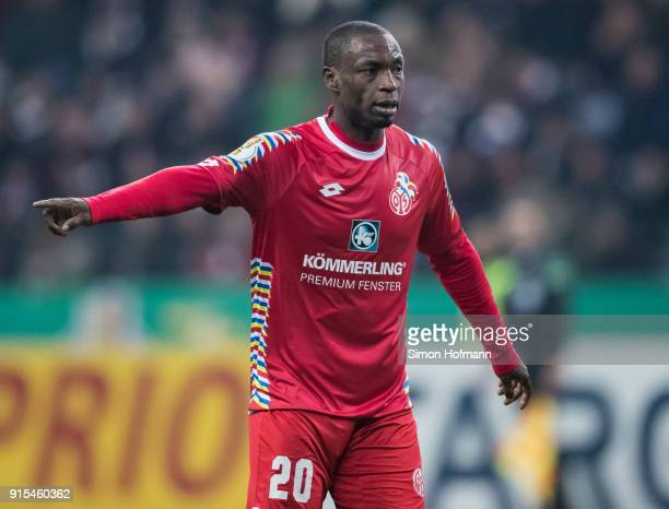 Anthony Ujah of Mainz gestures during the DFB Cup quarter final match between Eintracht Frankfurt and 1 FSV Mainz 05 at CommerzbankArena on February...