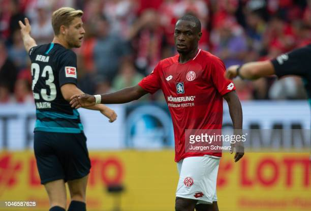 Anthony Ujah of Mainz looks on during the Bundesliga match between 1 FSV Mainz 05 and Hertha BSC at Opel Arena on October 6 2018 in Mainz Germany