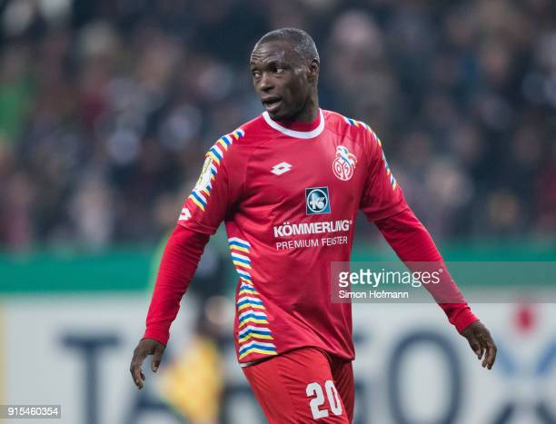 Anthony Ujah of Mainz looks on during the DFB Cup quarter final match between Eintracht Frankfurt and 1 FSV Mainz 05 at CommerzbankArena on February...