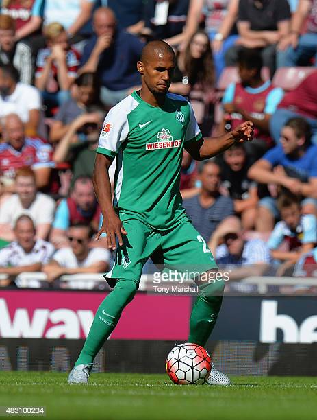 Anthony Ujah of SV Werder Bremen during the Betway Cup match between West Ham Utd and SV Werder Bremen at Boleyn Ground on August 2 2015 in London...