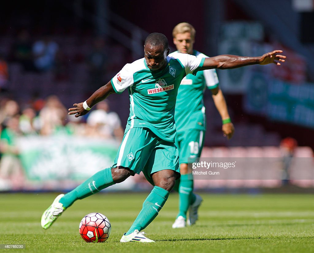 Anthony Ujah of Werder Bremen takes a shot at goal and scores during the Betway Cup match between West Ham United and Werder Bremen at Boleyn Ground on August 2, 2015 in London, England.