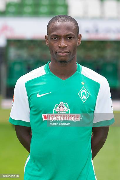 Anthony Ujah poses during the official team presentation of Werder Bremen at Weserstadion on July 10 2015 in Bremen Germany