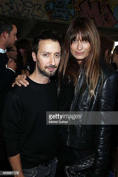 Anthony Vaccarello and Caroline de Maigret attend the Anthony Vaccarello show as part of the Paris Fashion Week Womenswear Spring/Summer 2015 on...