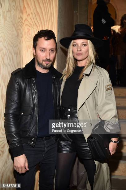 Anthony Vaccarello and Kate Moss attend the Saint Laurent show as part of the Paris Fashion Week Womenswear Fall/Winter 2017/2018 on February 28 2017...