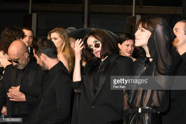 """Anthony Vaccarello, Beatrice Dalle and Charlotte Gainsbourg attend the screening of """"Lux Aeterna"""" during the 72nd annual Cannes Film Festival on May..."""
