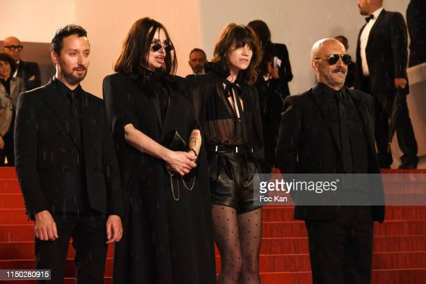 """Anthony Vaccarello, Beatrice Dalle , Charlotte Gainsbourg and Gaspar Noe attend the screening of """"Lux Aeterna"""" during the 72nd annual Cannes Film..."""