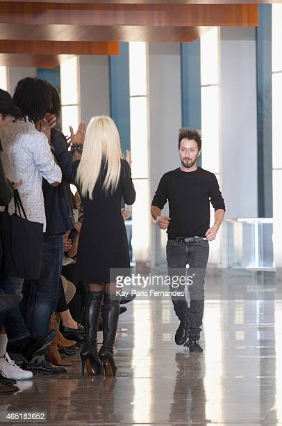 Anthony Vaccarello walks the runway during the Anthony Vaccarello show as part of the Paris Fashion Week Womenswear Fall/Winter 2015/2016 on March 3...