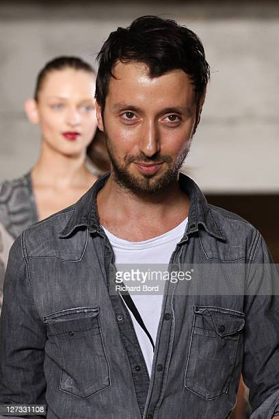 Anthony Vaccarello walks the runway during the Anthony Vaccarello Ready to Wear Spring / Summer 2012 show during Paris Fashion Week at Cite de la...