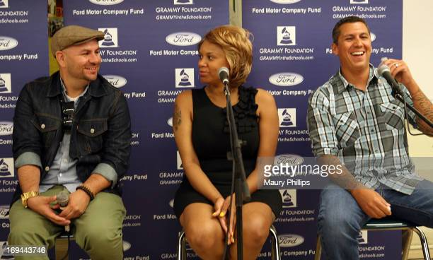 Anthony Valadez, Dolly Adams and Mike Elizondo attend GRAMMY Camp - Basic Training at Dorsey High School on May 24, 2013 in Los Angeles, California.