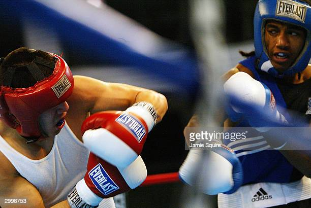 Anthony Vasquez fights Karl Dargan in the United States Olympic Team Boxing Trials at Battle Arena on February 19 2004 in Tunica Mississippi Dargan...