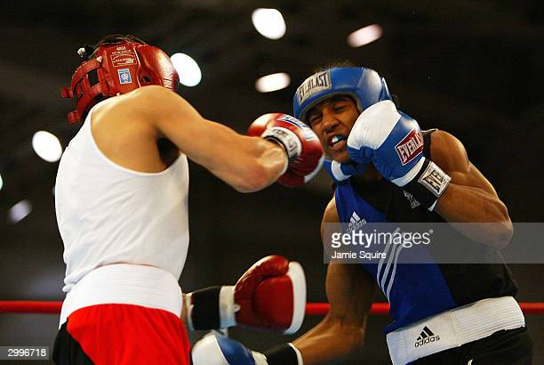 Anthony Vasquez lands a punch during his bout against Karl Dargan during the United States Olympic Team Boxing Trials at Battle Arena on February 19...