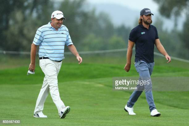 Anthony Wall of England and Johan Carlson of Sweden walk down the 5th during day three of the Saltire Energy Paul Lawrie Matchplay at Golf Resort Bad...