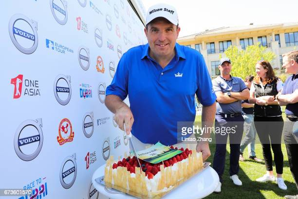 Anthony Wall of England celebrates his 500th European Tour appearance during the first round of the 2017 Volvo China open at Topwin Golf and Country...