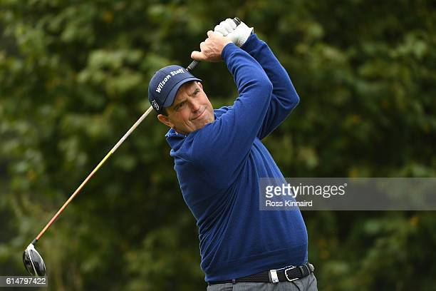 Anthony Wall of England hits his tee shot on the third hole during the third round of the British Masters at The Grove on October 15 2016 in Watford...