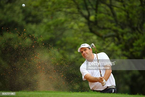 Anthony Wall of England plays from a greenside bunker on the 18th during the third round of the Joburg Open at Royal Johannesburg and Kensington Golf...