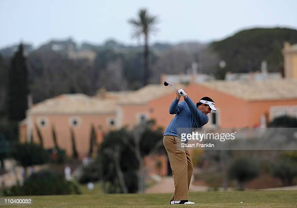 Anthony Wall of England plays his approach shot on the seventh hole during the second round of the Sicilian Open at the Donnafugata golf resort and...