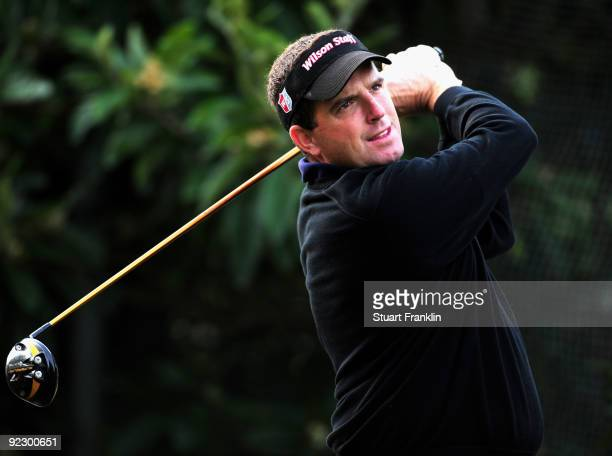 Anthony Wall of England plays his tee shot on the 17th hole during the continuation of the first round of the Castello Masters Costa Azahar at the...