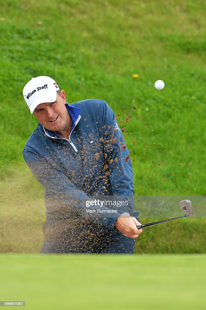 Anthony Wall of England takes a bunker shot on hole 16 on day four of the Aberdeen Asset Management Paul Lawrie Matchplay at Archerfield Links Golf Club on August 7, 2016 in North Berwick, Scotland.
