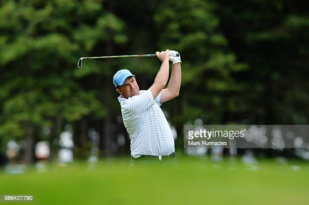Anthony Wall of England takes his second shot on hole 10 on day three of the Aberdeen Asset Management Paul Lawrie Matchplay at Archerfield Links...