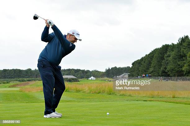 Anthony Wall of England takes his tee shot on hole 18 on day four of the Aberdeen Asset Management Paul Lawrie Matchplay at Archerfield Links Golf...