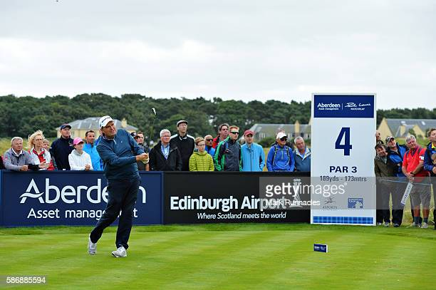 Anthony Wall of England takes his tee shot on hole 4 on day four of the Aberdeen Asset Management Paul Lawrie Matchplay at Archerfield Links Golf...