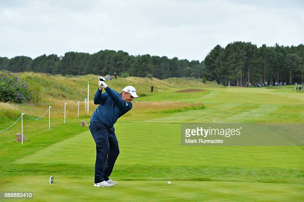 Anthony Wall of England takes his tee shot on hole 6 on day four of the Aberdeen Asset Management Paul Lawrie Matchplay at Archerfield Links Golf...