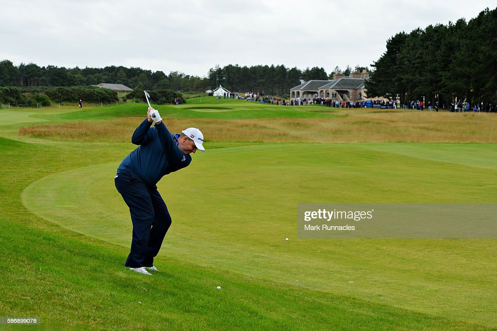 Anthony Wall of England taking his second shot on hole 18 on day four of the Aberdeen Asset Management Paul Lawrie Matchplay at Archerfield Links Golf Club on August 7, 2016 in North Berwick, Scotland.