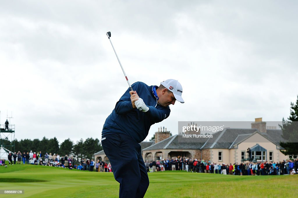 Anthony Wall of England taking his third shot on hole 18 on day four of the Aberdeen Asset Management Paul Lawrie Matchplay at Archerfield Links Golf Club on August 7, 2016 in North Berwick, Scotland.