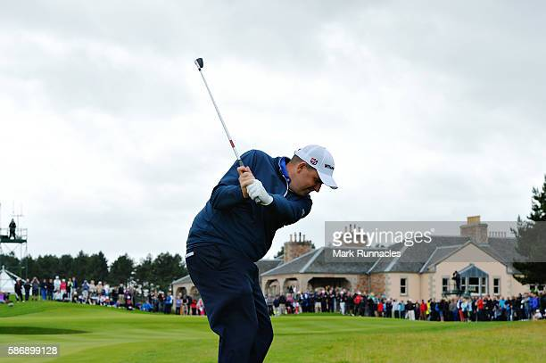 Anthony Wall of England taking his third shot on hole 18 on day four of the Aberdeen Asset Management Paul Lawrie Matchplay at Archerfield Links Golf...