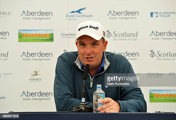 Anthony Wall of England talks to the media after winning the tournament on day four of the Aberdeen Asset Management Paul Lawrie Matchplay at...