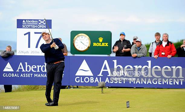 Anthony Wall of England tees off during the third round of the Aberdeen Asset Management Scottish Open at Castle Stuart Golf Links on July 14 2012 in...