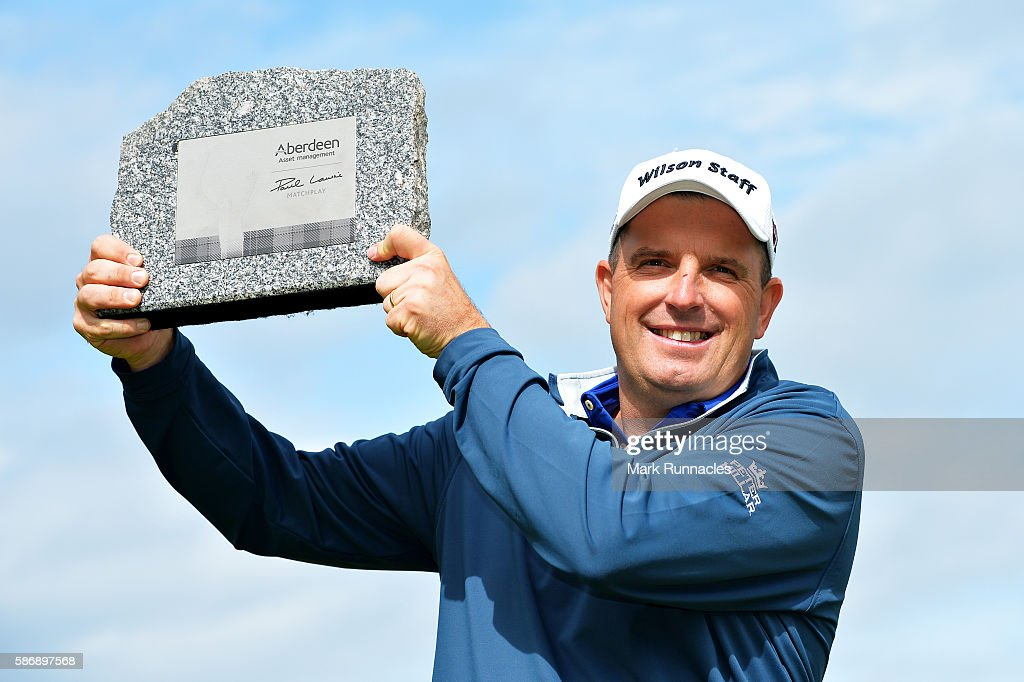 Anthony Wall of England with his trophy for winning the tournament on day four of the Aberdeen Asset Management Paul Lawrie Matchplay at Archerfield Links Golf Club on August 7, 2016 in North Berwick, Scotland.