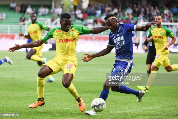 Anthony Walongwa of Nantes and Adama Niane of Troyes during the Ligue 1 match between Troyes Estac and FC Nantes at Stade de l'Aube on August 19 2017...