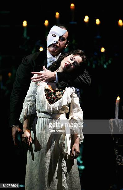 Anthony Warlow and Ana Marina perform a scene during a media call for The Phantom of the Opera at the Lyric Theatre on May 14 2008 in Sydney Australia