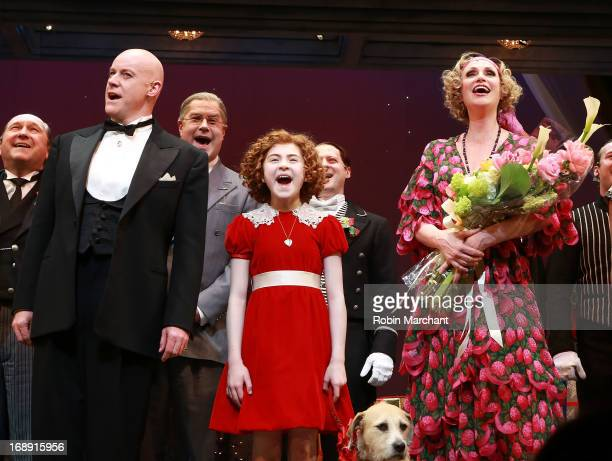 Anthony Warlow Lilla Crawford Jane Lynch and cast during curtain call of AnnieThe Musical at The Palace Theatre on May 16 2013 in New York City